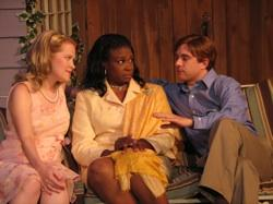 """Barbara Cole Uterhardt as Rowena Tuttle, Chery Rookwood as Mrs. Kelley, and Doug Graham as Tad Tuttle in """"Lakebottom Proper"""""""