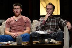 """Jimi Stanton as Dennis and Alex Pollock as Warren in """"This Is Our Youth"""" at the Gloucester Stage"""