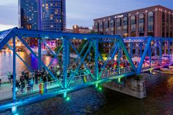 Blue Bridge lit for Grand Rapids Pride Festival