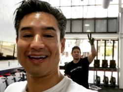 Mario Lopez and Mark Wahlberg in Lopez's workout video