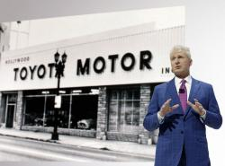 In this Nov. 20, 2019, file photo, Jack Hollis, Jack Hollis, group vice president and general manager of the Toyota Division at Toyota Motor North America (TMNA), speaks at the AutoMobility LA auto show in Los Angeles