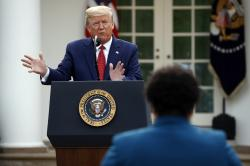 President Donald Trump answering a question from PBS reporter Yamiche Alcindor during a coronavirus task force briefing in the Rose Garden of the White House.
