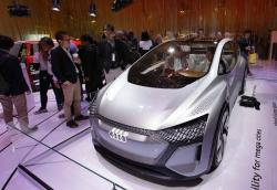 In this Jan. 8, 2020 file photo, the Audi AI:ME self-driving concept vehicle is on display in the Audi booth at the CES tech show in Las Vegas