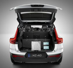 This undated photo provided by Volvo shows the 2020 Volvo XC40 and its folding rear cargo space. Subcompact crossovers aren't known for being spacious