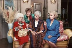 "From left, Estelle Getty, Rue McClanahan, Bea Arthur and Betty White are seen in this undated publicity image from the TV series ""The Golden Girls."""
