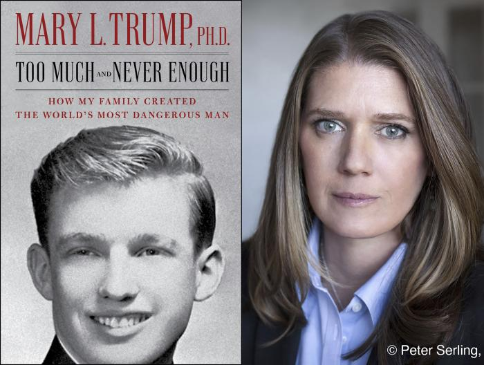 """The cover art for """"Too Much and Never Enough: How My Family Created the World's Most Dangerous Man"""", left, and a portrait of author Mary L. Trump, Ph.D."""