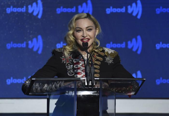 Madonna accepts the advocate for change award at the 30th annual GLAAD Media Awards at the New York Hilton Midtown in New York.