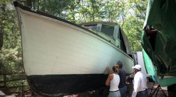 This July 20, 2020 photo provided by David Bigelow in Vineyard Haven, Mass. shows part of a boat that is being retrofitted to replicate the boat from the movie Jaws.