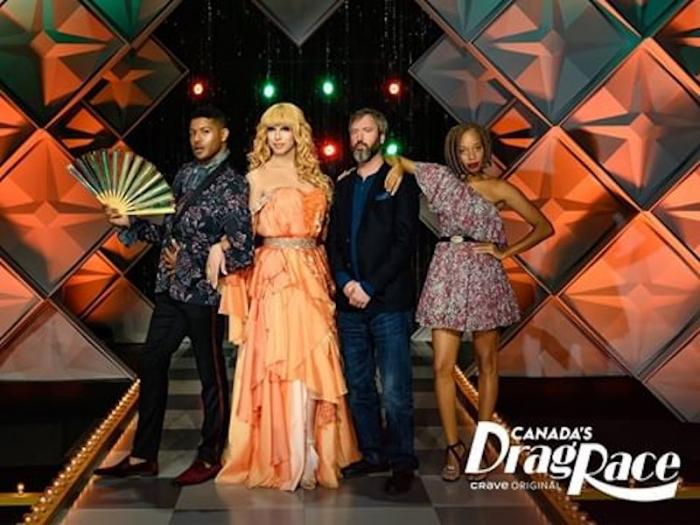 """From left to right: Jeffrey Bowyer-Chapman, Brooke Lynn Hytes, Tom Green, and Stacey McKenzi, in a promo photo for """"Canada's Drag Race."""""""