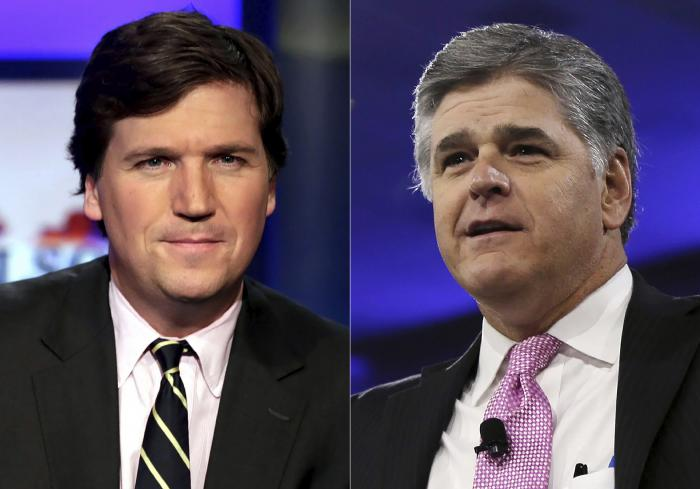 Tucker Carlson, left, and Sean Hannity, right.