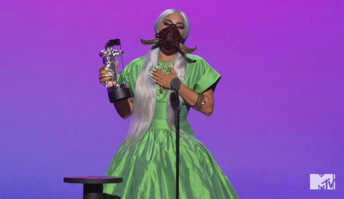 "Lady Gaga accepts the award for song of the year for ""Rain On Me"" during the MTV Video Music Awards."