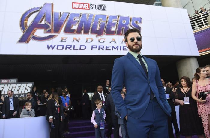 """Chris Evans arrives at the premiere of """"Avengers: Endgame"""" at the Los Angeles Convention Center."""