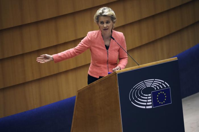European Commission President Ursula von der Leyen addresses the plenary during her first State of the Union speech at the European Parliament in Brussels.