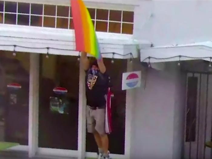 Watch: So-Called 'Captain America' In Jail after Tearing Down Pride Flag, Attempting Assault