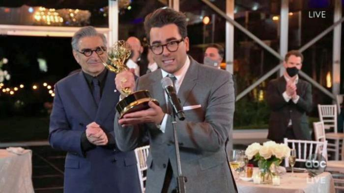 Eugene Levy and Dan Levy at the Emmy Awards ceremony