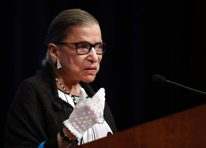 Supreme Court Justice Ruth Bader Ginsburg speaking at the Georgetown University Law Center campus in Washington. (September 20, 2017)
