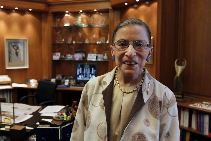 Supreme Court Justice Ruth Bader Ginsburg is photographed in her chambers in Washington. (August 3,2010)