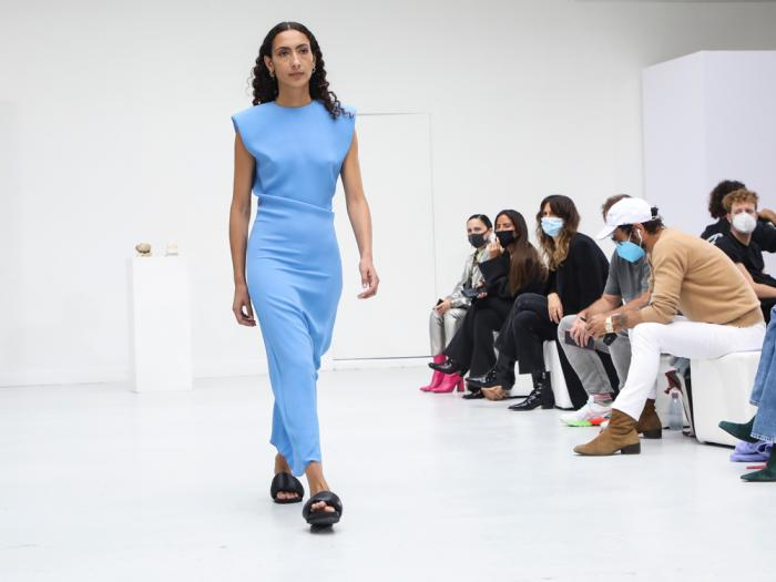 A model wears a creation for the Gauchere Spring-Summer 2021 fashion collection, Wednesday, Sept. 30, 2020, during Paris fashion week