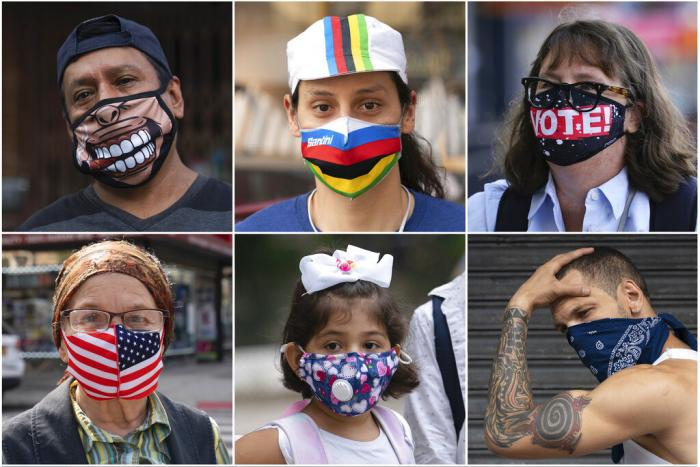 In this combination of photos, New Yorkers pose for photos during the coronavirus outbreak in New York.
