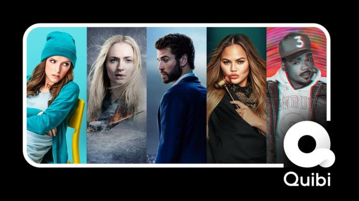 "A selection of images from programs offered on the new Quibi service, from left, Anna Kendrick from ""Dummy,"" Sophie Turner, who stars in ""Survive,"" Liam Hemsworth, who stars in ""Most Dangerous Game,"" Chrissy Teigen in ""Chrissy's Court"" and Chance the Rapper in ""Punk'd."""