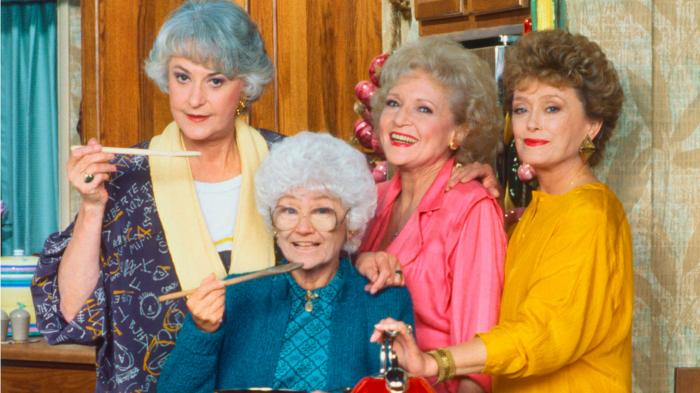 """Beatrice Arthur, Estelle Getty, Betty White and Rue McClanahan in a promotional photo for """"The Golden Girls"""""""