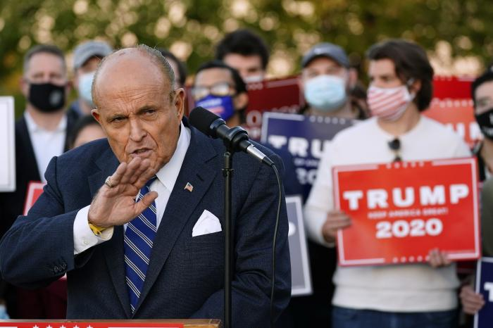 Rudy Giuliani, a lawyer for President Donald Trump, speaks during a news conference on legal challenges to vote counting in Pennsylvania.