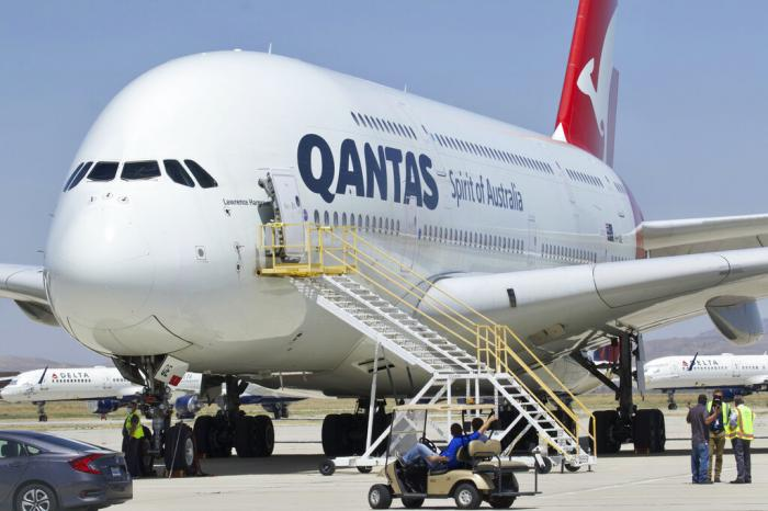 A Qantas Airbus A380 arrives at Southern California Logistics Airport in Victorville, Calif.