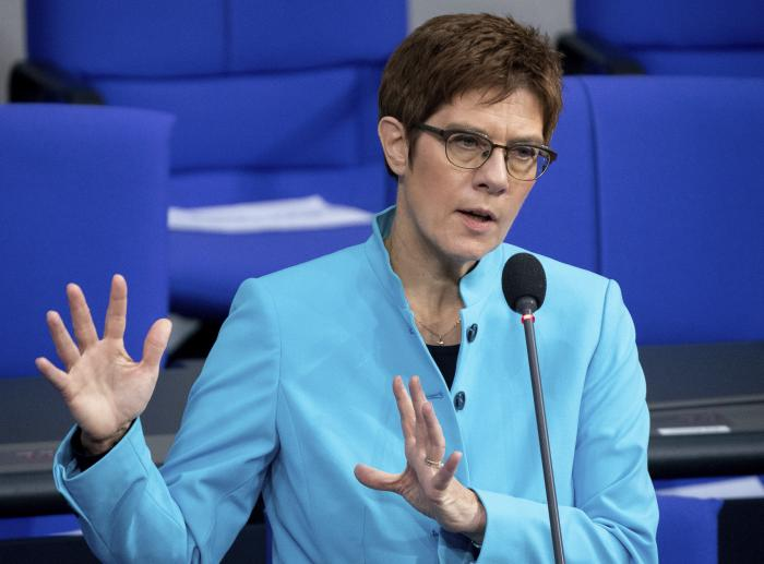 German Defence Minister Annegret Kramp-Karrenbauer speaks during a questioning of the Federal Government as part of a meeting of the German federal parliament, Bundestag, at the Reichstag building in Berlin, Germany, Wednesday, Nov. 25, 2020.