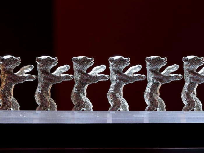 The Baeren (Bears) awards are lined up during the award ceremony for the 2020 Berlinale Film Festival in Berlin, Germany, on Feb. 29, 2020