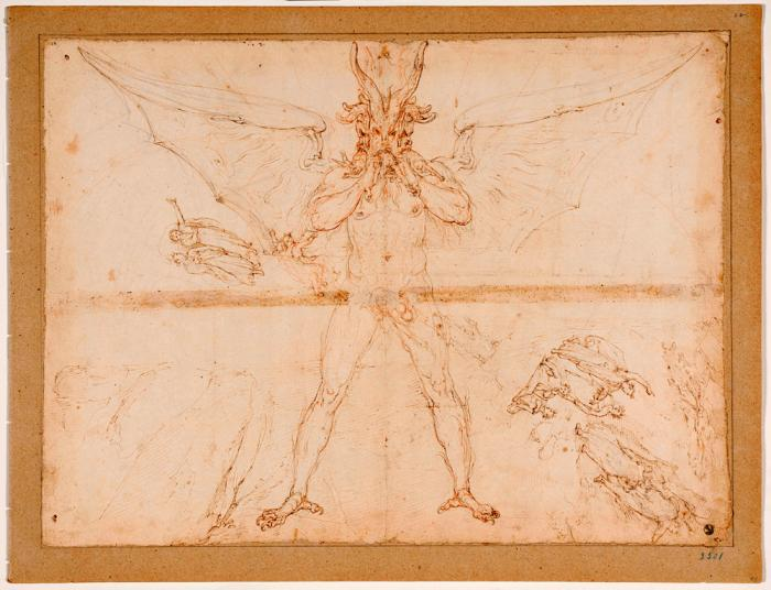 This image made available on Thursday, Dec. 31, 2020, shows Lucifer, one of the original 88 drawings that went with Dante Alighieri's Divine Comedy by artist Federico Zuccari
