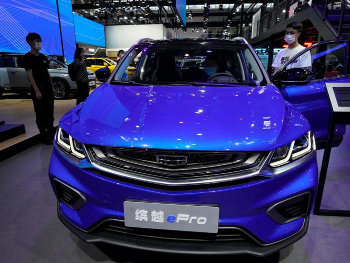 The plug-in hybrid Bingyue ePro from Geely is displayed at the Auto China 2020 show in Beijing on Sunday, Sept. 27, 2020