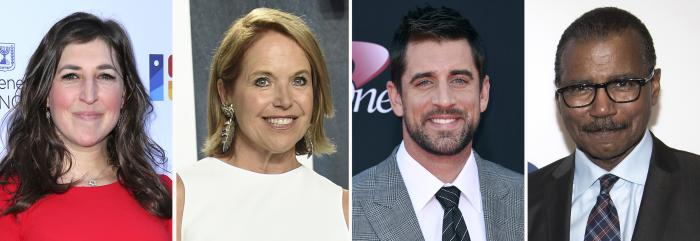 From left to right: Mayim Bialik, Katie Couric, Aaron Rodgers and Bill Whitaker.