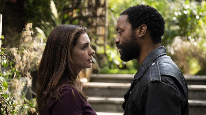 """Anne Hathaway and Chiwetel Ejiofor in a scene from """"Lockdown."""""""