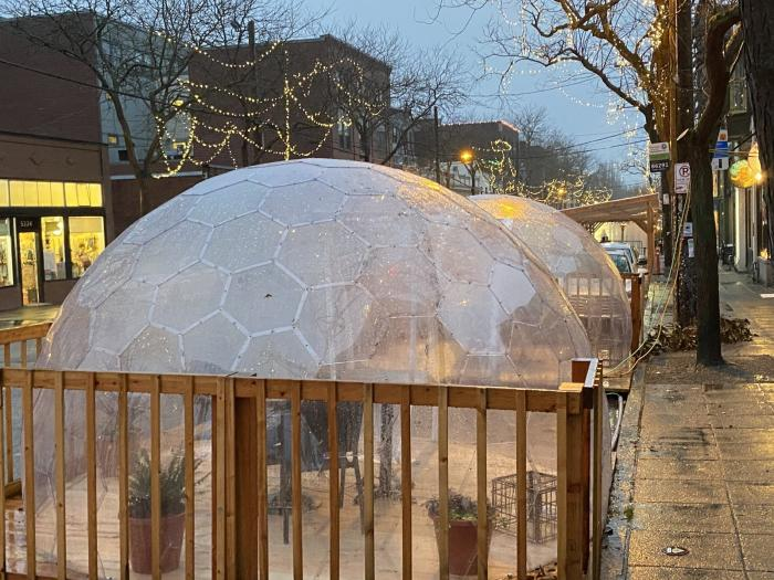 The popular Seattle restaurant San Fermo allows only two people inside each of its enclosed dining igloos at a time — to reduce the risk that people from different households will dine together.