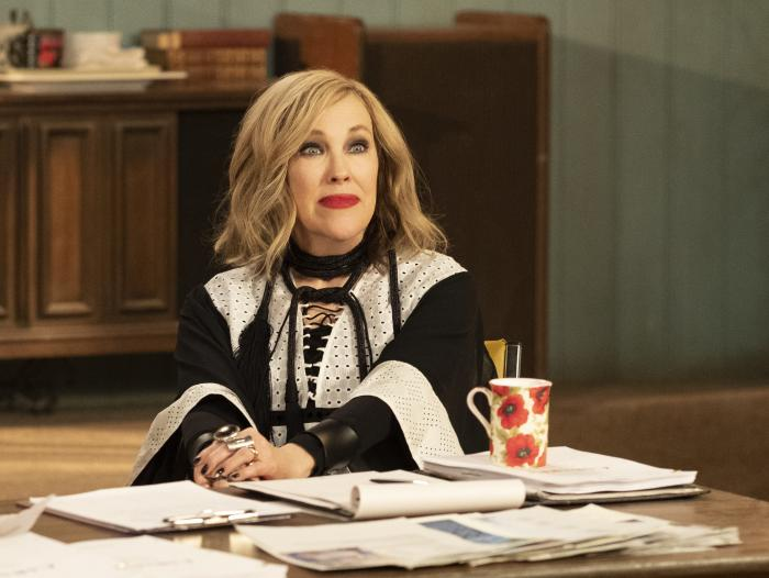 "Catherine O'Hara in a scene from ""Schitt's Creek."""