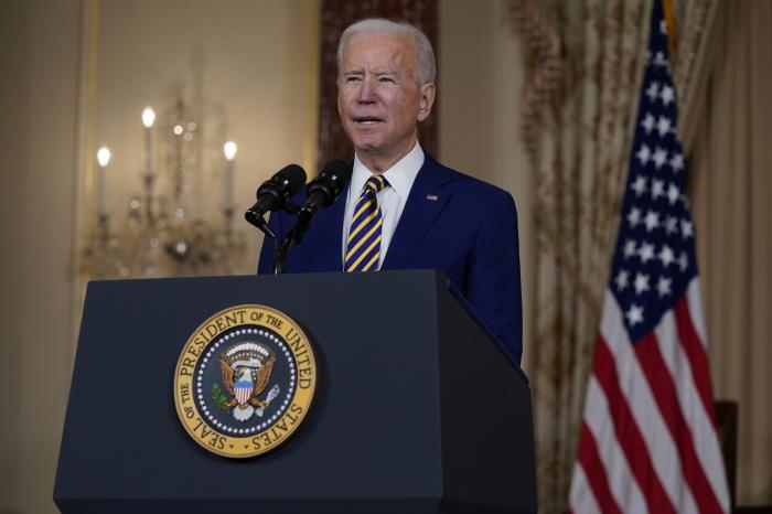 President Joe Biden speaks about foreign policy, at the State Department.