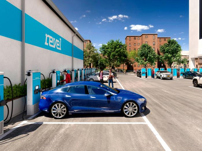 This artist rendering, provided in New York, Wednesday, Feb. 3, 2021, shows the vehicle charging station station by electric transportation company Revel, to be built in the Brooklyn borough of New York