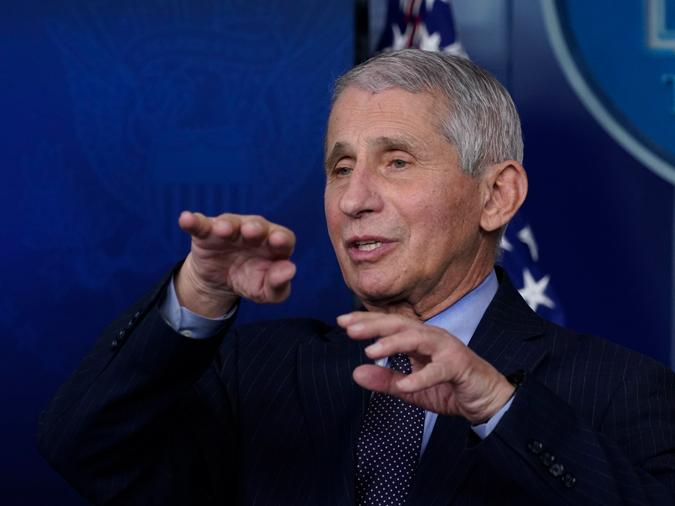 """In this Jan. 21, 2021 file photo, Dr. Anthony Fauci, director of the National Institute of Allergy and Infectious Diseases, speaks with reporters at the White House, in Washington. Fauci won a $1 million award from the Israeli Dan David Foundation for """"courageously defending science"""" during the coronavirus pandemic"""