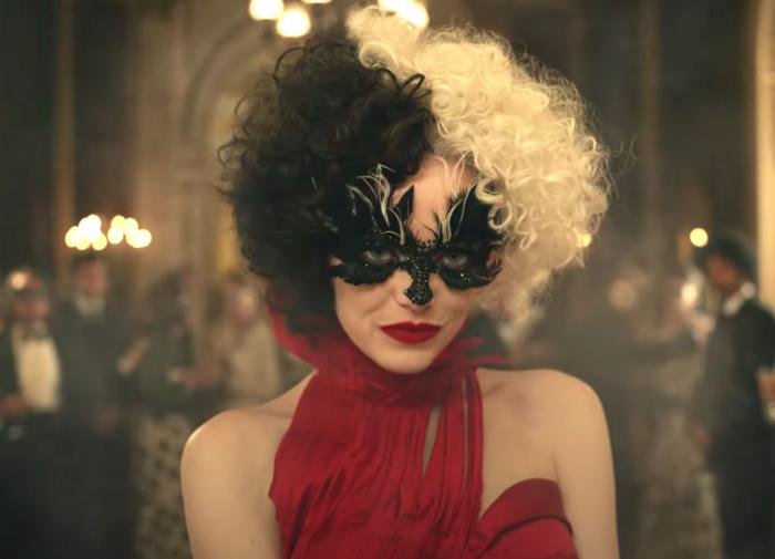 "Emma Stone in the trailer for ""Cruella."""