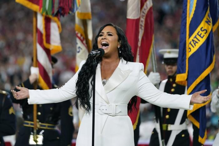 Demi Lovato performing National Anthem at Super Bowl 54 on Feb. 2, 2020