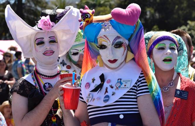 A trio of Sisters in Dolores Park at the 2019 Easter celebration