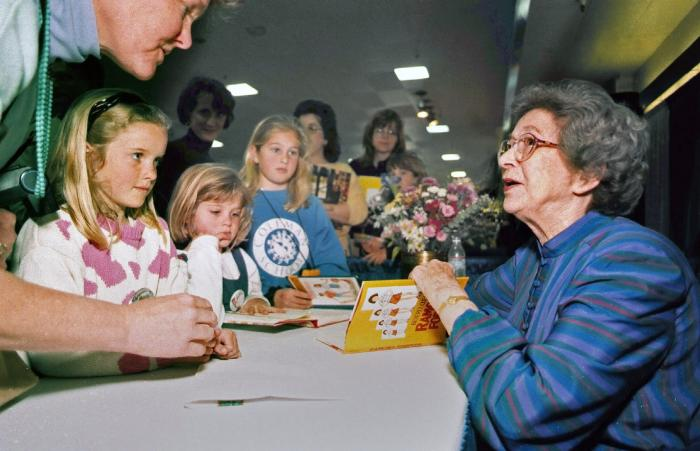 Beverly Cleary signs books at the Monterey Bay Book Festival in Monterey, Calif. in 1998.
