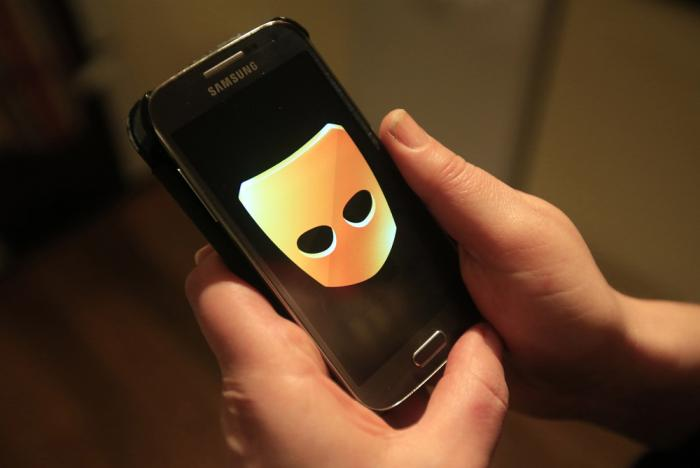 This AP image shows the Grindr app on a smart phone