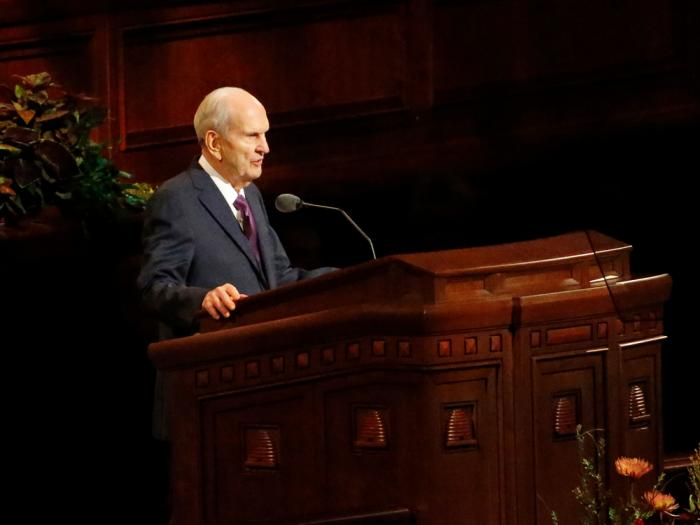 In this Oct. 5, 2019 file photo, President Russell M. Nelson speaks during The Church of Jesus Christ of Latter-day Saints' twice-annual church conference in Salt Lake City