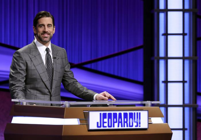 """Green Bay Packers quarterback Aaron Rodgers as he guest hosts the game show """"Jeopardy!"""""""