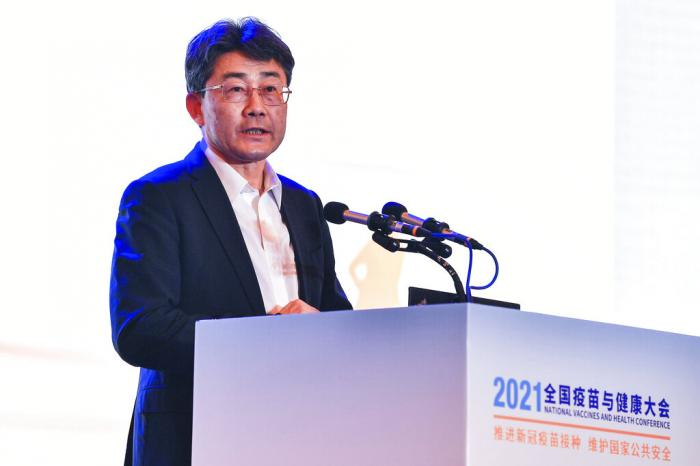 Gao Fu, director of the China Centers for Disease Control, speaks at the National Vaccines and Health conference in Chengdu in southwest China's Sichuan province.