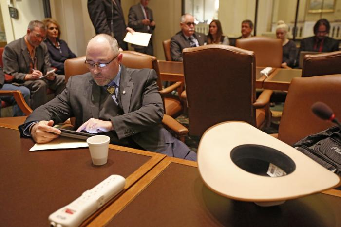 Oklahoma State Rep. Justin Humphrey prepares to speak at the State Capitol in Oklahoma City