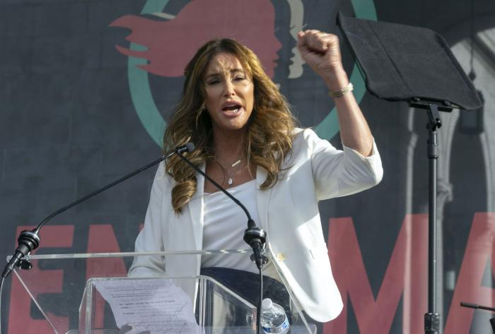 In this Jan. 18, 2020, file photo Caitlyn Jenner speaks at the 4th Women's March in Los Angeles. (AP Photo/Damian Dovarganes)