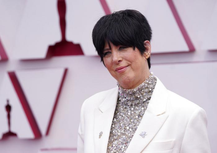 Diane Warren arrives at the Oscars on Sunday, April 25, 2021, at Union Station in Los Angeles.