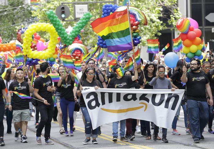 A group with Amazon marches in the Pride parade in San Francisco.